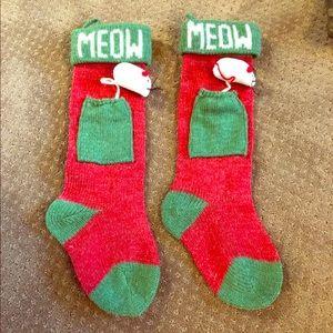 Two cat/kitten Christmas stockings